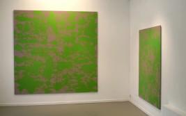 Interior with fourparted Green painting. Acryl/Board, 244 X 244 cm.